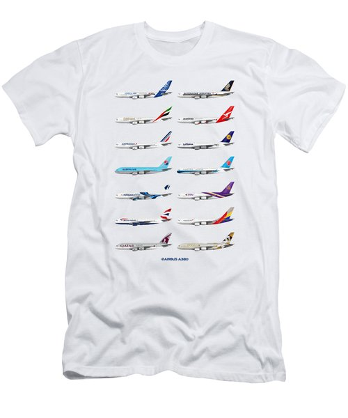 Airbus A380 Operators Illustration Men's T-Shirt (Athletic Fit)