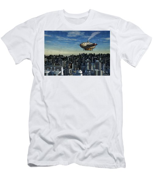 Airship Over Future City Men's T-Shirt (Slim Fit) by Ken Morris