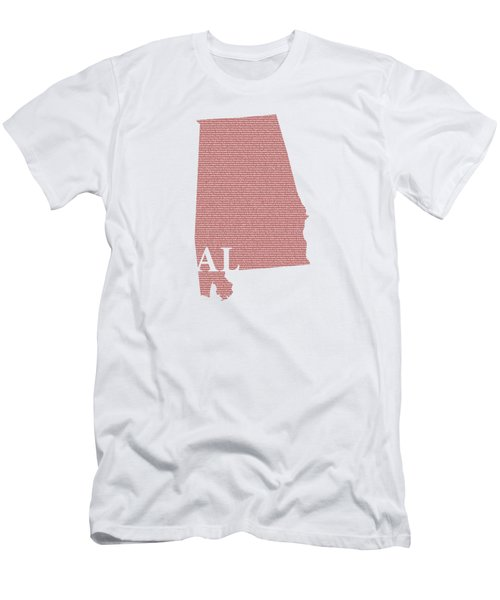 Alabama State Map With Text Of Constitution Men's T-Shirt (Athletic Fit)