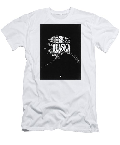 Alaska Black And White Map Men's T-Shirt (Athletic Fit)