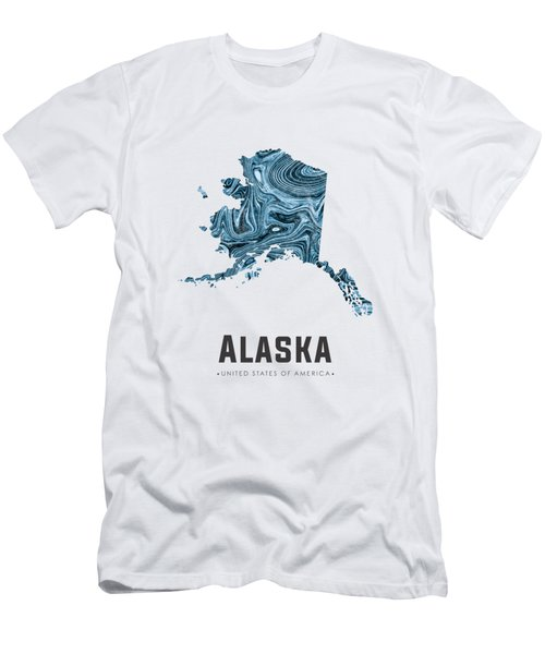 Alaska Map Art Abstract In Blue Men's T-Shirt (Athletic Fit)