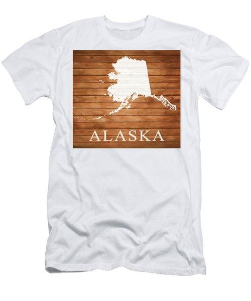 Alaska Rustic Map On Wood Men's T-Shirt (Athletic Fit)