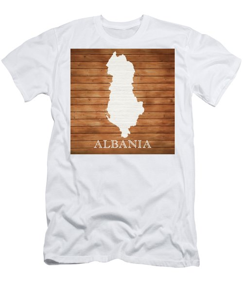 Albania Rustic Map On Wood Men's T-Shirt (Athletic Fit)