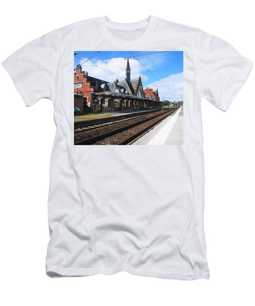 Men's T-Shirt (Slim Fit) featuring the photograph Albert Train Station, France by Therese Alcorn