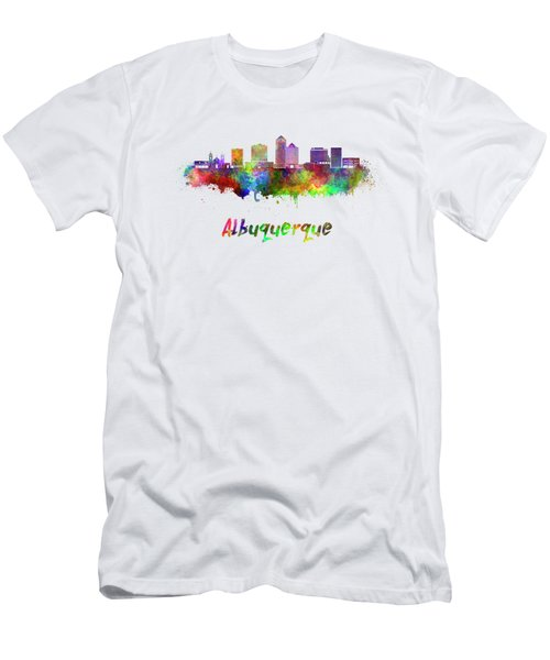 Albuquerque Skyline In Watercolor Splatters With Clipping Path Men's T-Shirt (Athletic Fit)