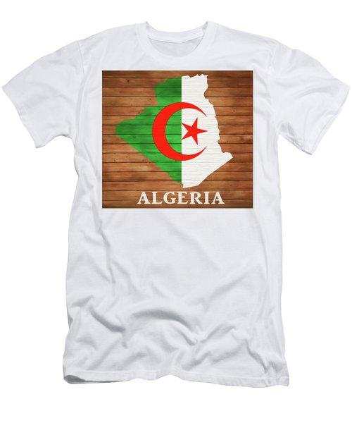 Algeria Rustic Map On Wood Men's T-Shirt (Athletic Fit)