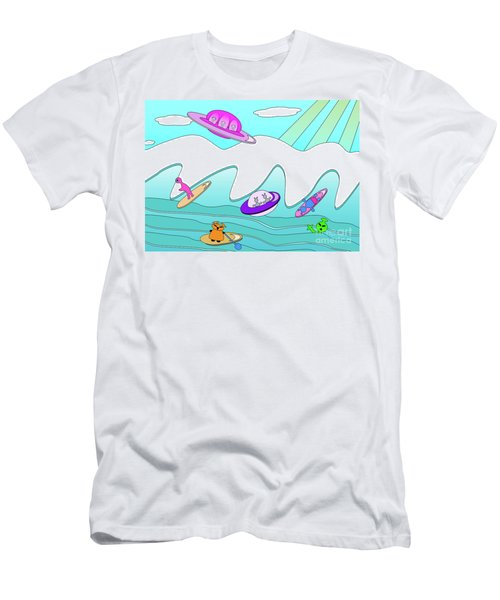 Aliens Go Surfing  Men's T-Shirt (Athletic Fit)
