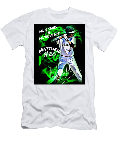 Men's T-Shirt (Slim Fit) featuring the photograph All It Takes Matthew by Linda Cox