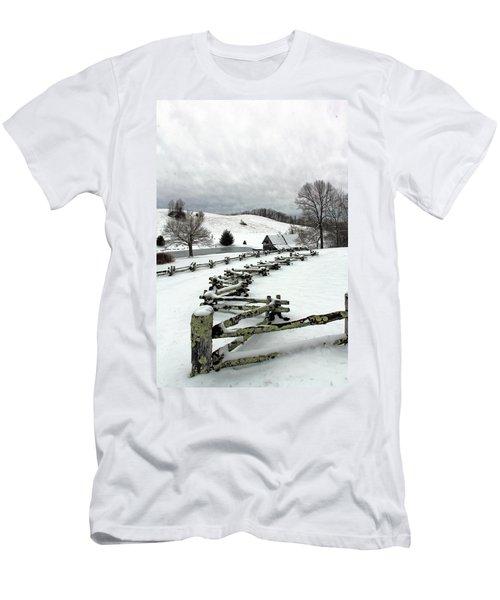 Along The Locust Rails In Winter Men's T-Shirt (Athletic Fit)