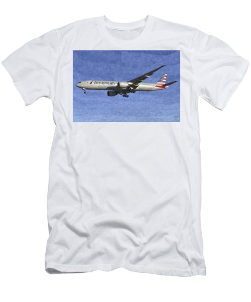 American Airlines Boeing 777 Aircraft Art Men's T-Shirt (Athletic Fit)