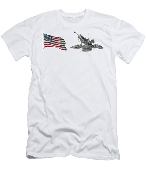 Men's T-Shirt (Athletic Fit) featuring the drawing American Artillery by Betsy Hackett