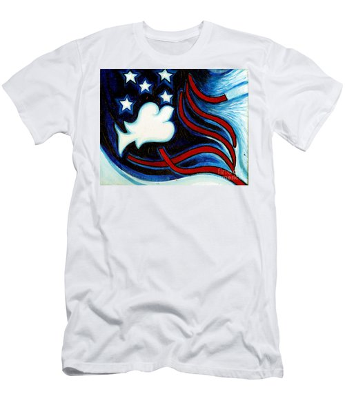 Men's T-Shirt (Slim Fit) featuring the painting American Dove by Genevieve Esson