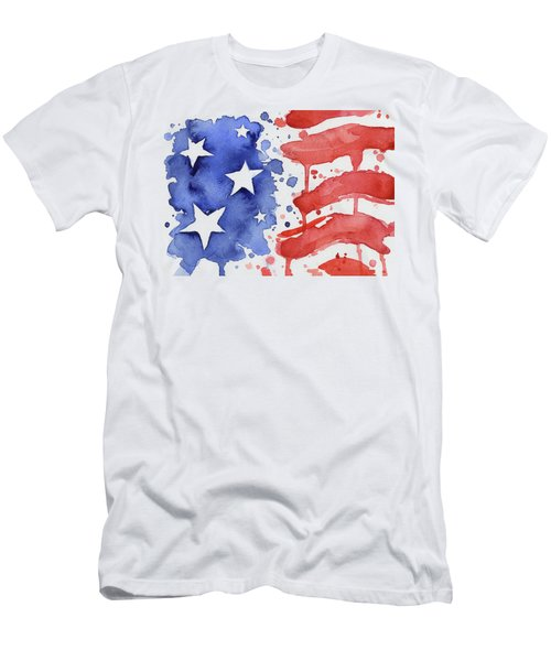 American Flag Watercolor Painting Men's T-Shirt (Athletic Fit)