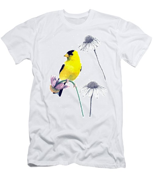 American Goldfinch On Coneflowers Men's T-Shirt (Athletic Fit)