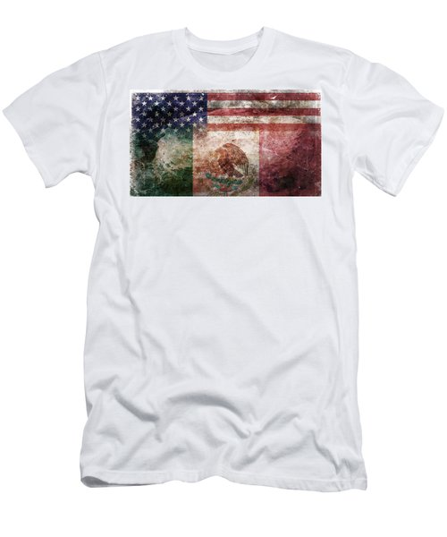 American Mexican Tattered Flag  Men's T-Shirt (Athletic Fit)