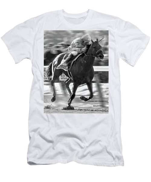 American Pharoah And Victor Espinoza Win The 2015 Belmont Stakes Men's T-Shirt (Slim Fit) by Thomas Pollart