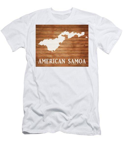 American Samoa Rustic Map On Wood Men's T-Shirt (Athletic Fit)