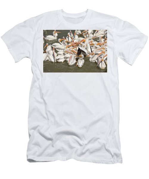 American White Pelicans Men's T-Shirt (Slim Fit) by Eunice Gibb