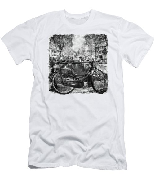 Amsterdam Bicycle Black And White Men's T-Shirt (Athletic Fit)
