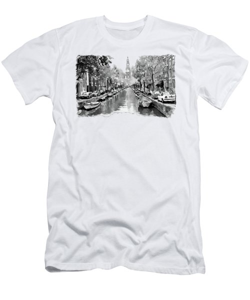 Amsterdam Canal 2 Black And White Men's T-Shirt (Slim Fit) by Marian Voicu