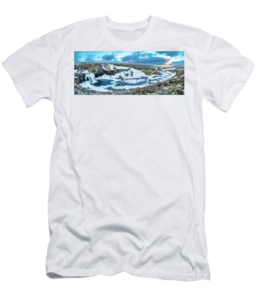 An Icy Waterfall Panorama During Sunrise In Iceland Men's T-Shirt (Slim Fit) by Joe Belanger