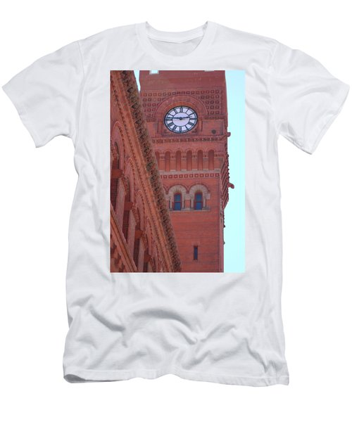 Angled View Of Clocktower At Dearborn Station Chicago Men's T-Shirt (Athletic Fit)