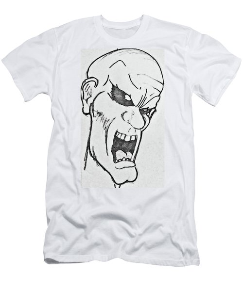 Men's T-Shirt (Slim Fit) featuring the drawing Angry Cartoon Zombie by Yshua The Painter