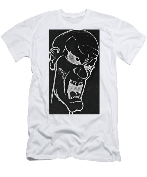 Men's T-Shirt (Slim Fit) featuring the drawing Angry Zombie In Negative by Yshua The Painter