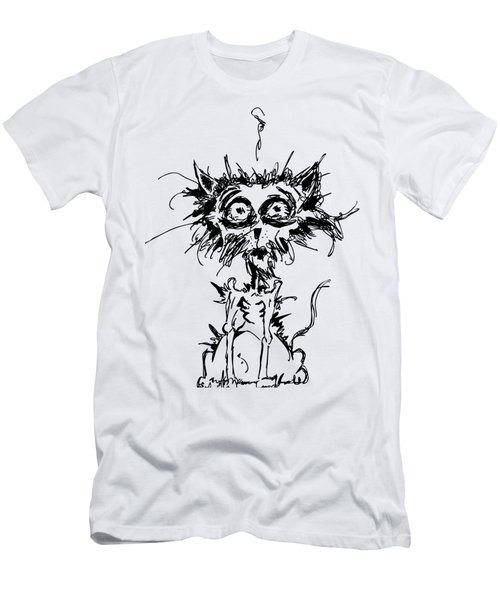 Angst Cat Men's T-Shirt (Slim Fit) by Nicholas Ely