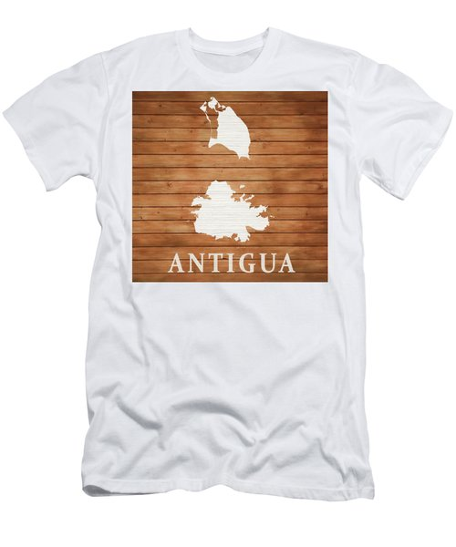 Antigua Rustic Map On Wood Men's T-Shirt (Athletic Fit)