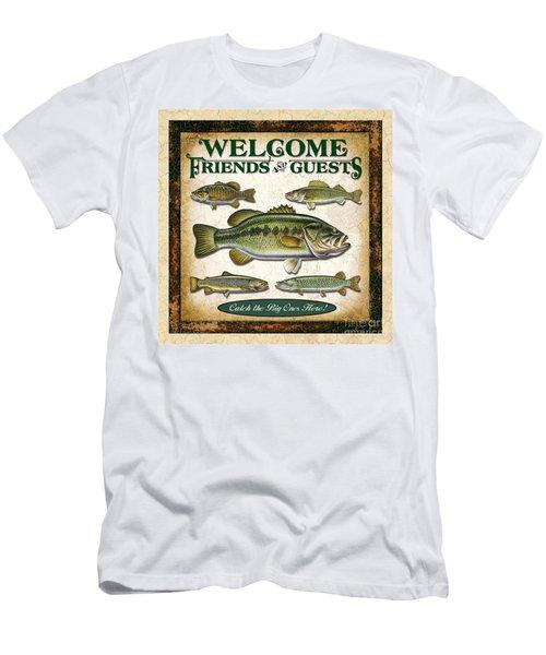 Antique Lure Fish Panel Three Men's T-Shirt (Slim Fit) by JQ Licensing Jon Q Wright