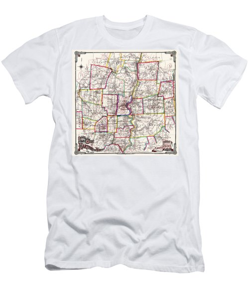 Horse Carriage Era Driving Map Of Hartford Connecticut Vicinity 1884 Men's T-Shirt (Slim Fit) by Phil Cardamone