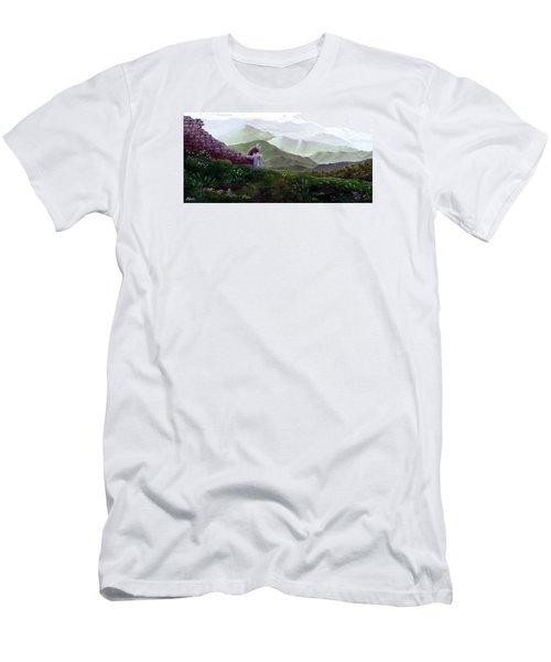 Antonio Atop La Rocca De Monte Calvo Men's T-Shirt (Slim Fit) by Albert Puskaric
