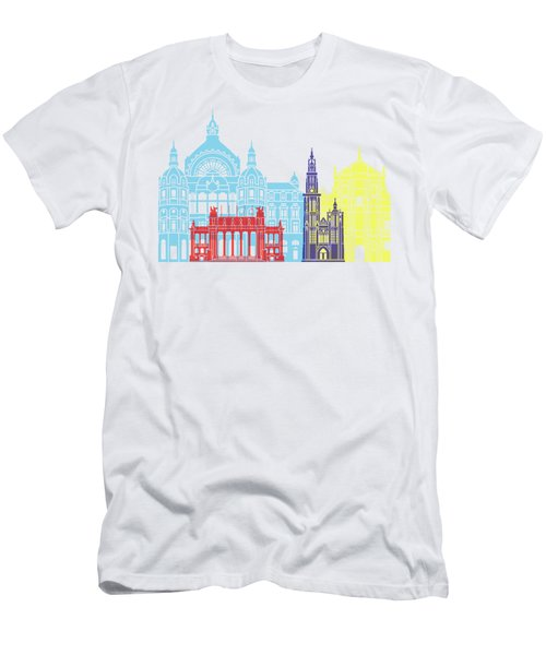 Antwerp Skyline Pop Men's T-Shirt (Athletic Fit)