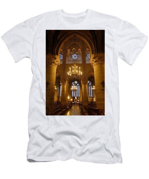 Architectural Artwork Within Notre Dame In Paris France Men's T-Shirt (Slim Fit) by Richard Rosenshein