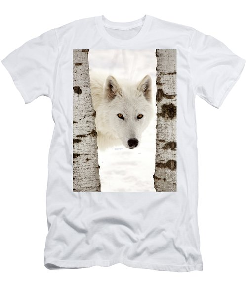 Arctic Wolf Seen Between Two Trees In Winter Men's T-Shirt (Athletic Fit)
