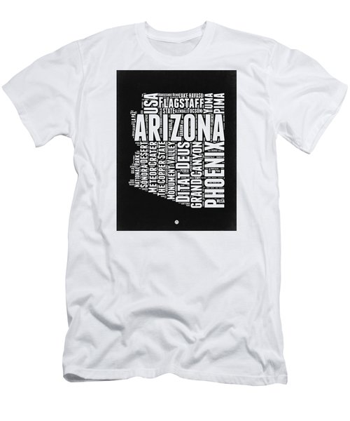 Arizona Black And White Word Cloud Map Men's T-Shirt (Slim Fit) by Naxart Studio