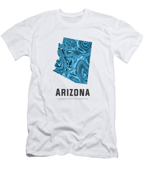 Arizona Map Art Abstract In Blue Men's T-Shirt (Athletic Fit)