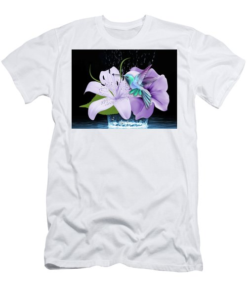 Men's T-Shirt (Athletic Fit) featuring the mixed media Arrival Hummingbird by Marvin Blaine