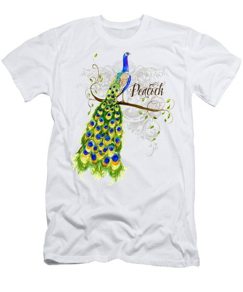 Art Nouveau Peacock W Swirl Tree Branch And Scrolls Men's T-Shirt (Athletic Fit)