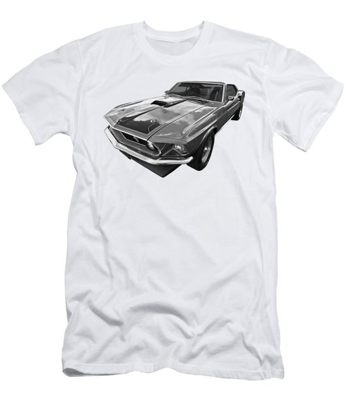 428 Cobra Jet Mach1 Ford Mustang 1969 In Black And White Men's T-Shirt (Slim Fit) by Gill Billington