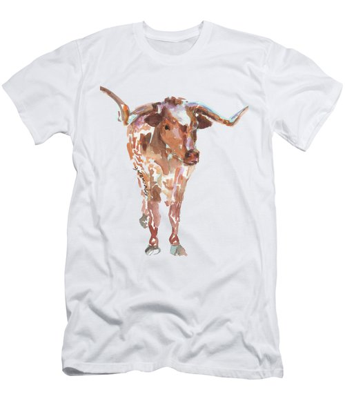 The Original Longhorn Standing Earth Quack Watercolor Painting By Kmcelwaine Men's T-Shirt (Athletic Fit)