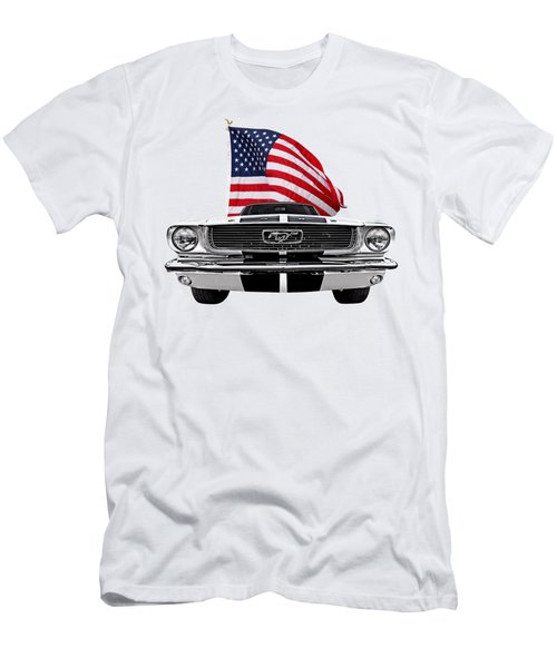 Patriotic Mustang On White Men's T-Shirt (Athletic Fit)