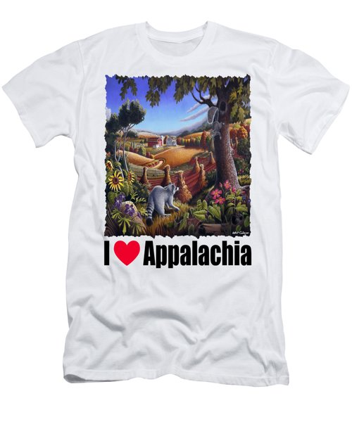 I Love Appalachia - Coon Gap Holler Country Farm Landscape 1 Men's T-Shirt (Slim Fit) by Walt Curlee