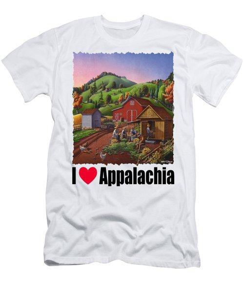 I Love Appalachia - Farmers Shucking Corn And Storing In Corncrib - Corn Crib Men's T-Shirt (Athletic Fit)