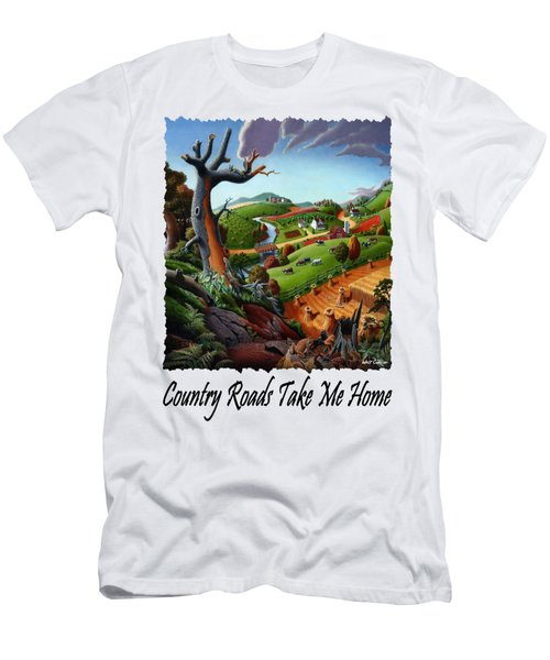Country Roads Take Me Home T Shirt - Autumn Wheat Harvest Country Farm Landscape Men's T-Shirt (Athletic Fit)