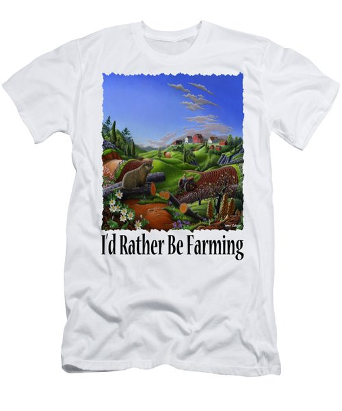 Id Rather Be Farming - Springtime Groundhog Farm Landscape 1 Men's T-Shirt (Athletic Fit)