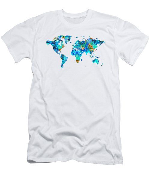Men's T-Shirt (Slim Fit) featuring the painting World Map 22 Art By Sharon Cummings by Sharon Cummings