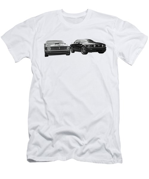 Mustang Buddies In Black And White Men's T-Shirt (Athletic Fit)