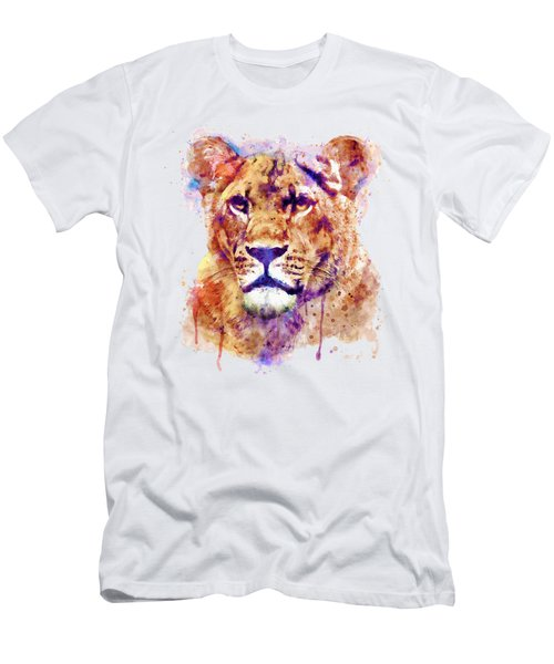 Lioness Head Men's T-Shirt (Slim Fit) by Marian Voicu